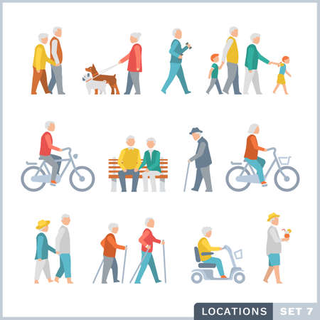 Older People on the street. Neighbors. Flat icons.
