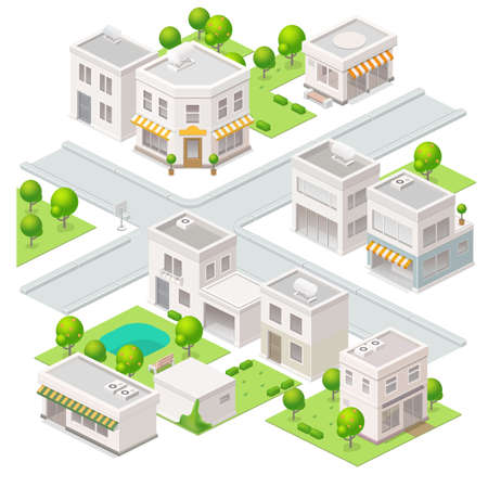 Illustration pour City isometric buildings. Set of the vector elements. - image libre de droit