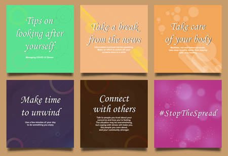 Illustration for self care social media post during the outbreak with different color background, colorful, stay healthy, vector illustration. - Royalty Free Image