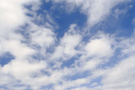 blue spring sky with lot of white clouds