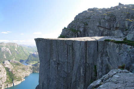 Preikestolen - famous cliff at the norwegian mountains.