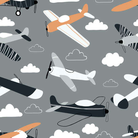 Vektor für Vector hand-drawn seamless repeating children simple pattern with aircraft and clouds in Scandinavian style on a gray background.Kids seamless pattern with planes. Funny airplanes. - Lizenzfreies Bild