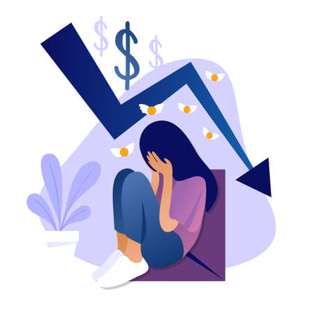 Illustration pour Beautiful sad girl crying because she has no money. Vector flat illustration of rate cut. Financial concept of cost reduction. Landing page template. Stock market crisis price arrow down chart fall. - image libre de droit