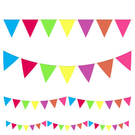 Illustration pour Realistic hanging color buntings garland flag set different type for celebrate holiday. Vector - image libre de droit