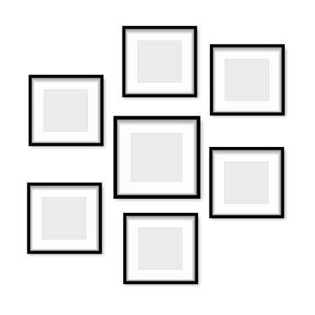 Illustration pour Set of black wooden photo frames with soft shadow. Vector. - image libre de droit