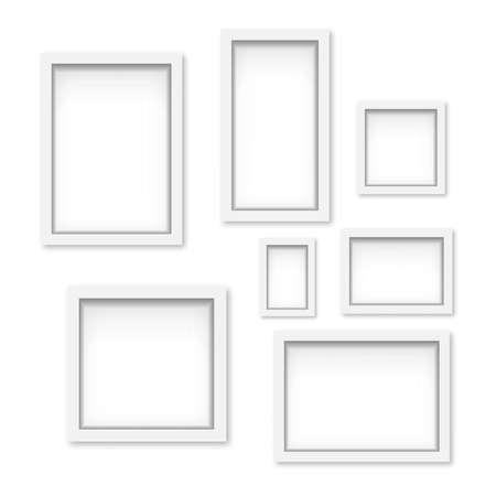 Illustration pour Set of white wooden photo frames with soft shadow. Vector - image libre de droit