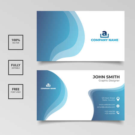 Illustration for Gradient blue and white business card template design. Vector illustration - Royalty Free Image