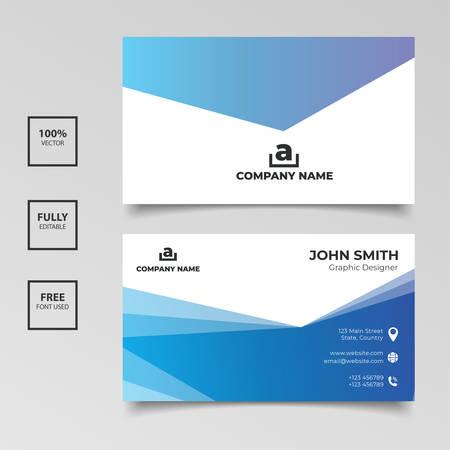 Illustration pour Simple elegance gradient blue business card template design. Vector illustration - image libre de droit