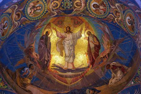 Jesus Christ mosaic in orthodox temple, Petersburg