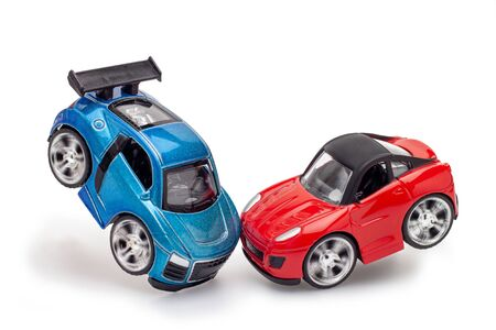 Photo for Red and blue toy car on the White Blackground. - Royalty Free Image