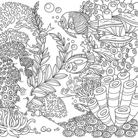 Illustration pour Cartoon underwater world with corals and fishes outlined isolated on white - image libre de droit