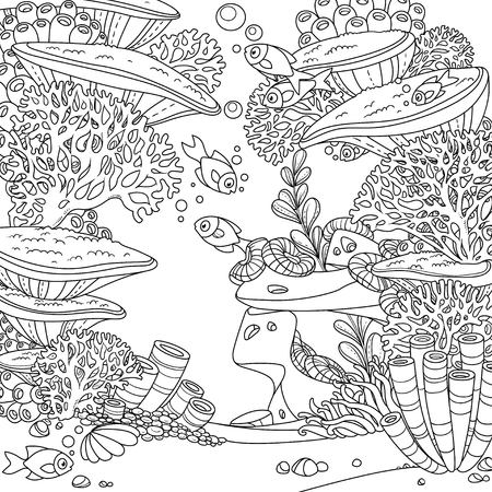 Illustration pour Cartoon underwater world with corals,  actinia and fishes outlined isolated on white - image libre de droit