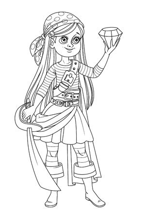 Illustration pour Cute cartoon girl in pirate costume looking at a huge gem in hand outlined isolated on white background - image libre de droit
