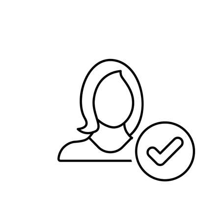 Accept, account, apply, check, girl, user, woman icon. Vector line icon