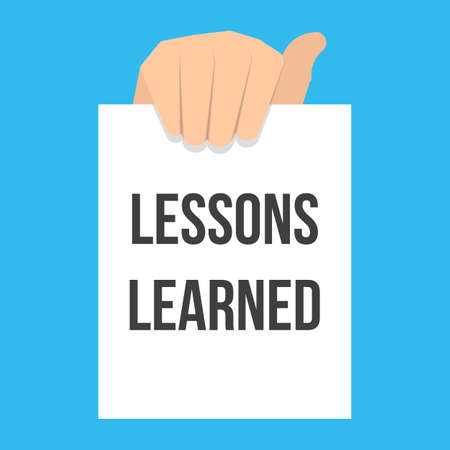 Illustration pour Man showing paper LESSONS LEARNED text. Vector flat illustration - image libre de droit