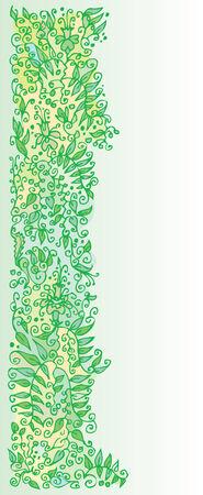 Refined Floral vignette. In Green Color. Eau-forte.