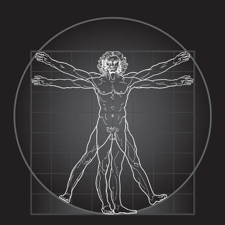 The Vitruvian man, or so called Leonardo's man. Detailed drawing. Invert version.
