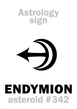Astrology Alphabet: ENDYMION, asteroid #342  Hieroglyphics