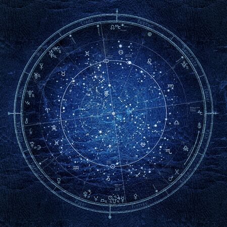 Photo for Astrological Celestial Map of The Northern Hemisphere. The General Global Universal Horoscope on January 1, 2020 (00:00 GMT). Detailed Night Sky Chart, Ultraviolet Blueprint (grunge vintage remake). - Royalty Free Image
