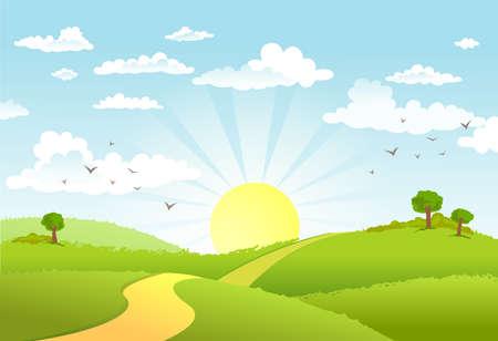 Illustration pour Green Landscape and the road. - image libre de droit
