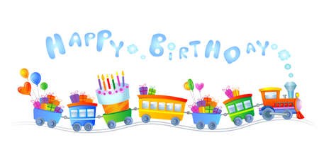 Illustration pour Happy birthday train - image libre de droit