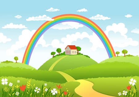 Rural scene with rainbow and green field, house and trees on sunny day