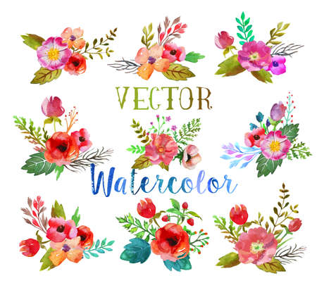 Photo pour Vector watercolor buttonholes. - image libre de droit