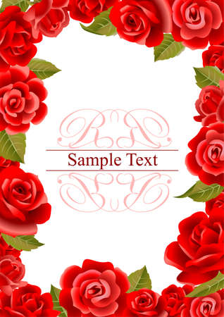 Illustration pour Frame from red roses - image libre de droit