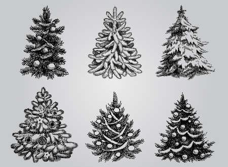 Illustration pour Silhouetted Christmas Tree Vector Pack to create holiday cards, backgrounds and decorations. - image libre de droit