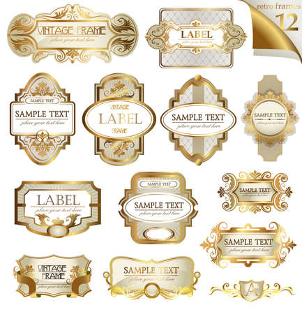 Illustration for Vector white gold-framed  ornamental labels set. Easy to scale and edit. All pieces are separated. - Royalty Free Image