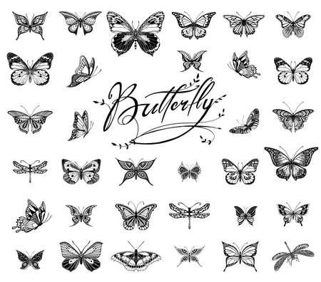 Illustration pour Illustrations of tatto style butterflies - image libre de droit