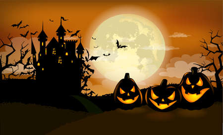Illustration pour Halloween poster template with scary pumpkins and Dracula castle - image libre de droit