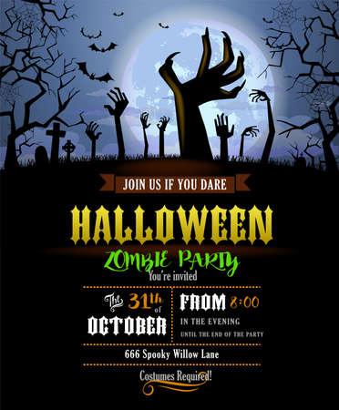 Illustration pour Halloween invitation with zombies hands - image libre de droit