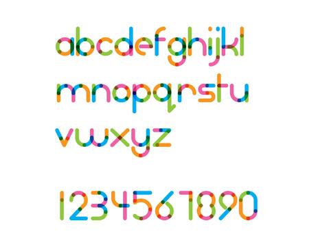 Illustration pour overlapping colorful rounded line font - regular - image libre de droit