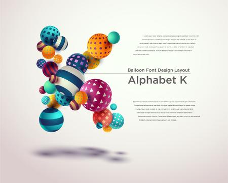 Illustration pour Alphabet ball font design template - K - image libre de droit