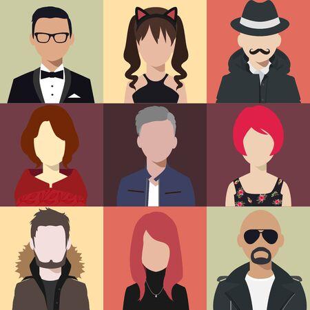 Illustration pour person avatars people heads various style flat illustration style Vector. - image libre de droit