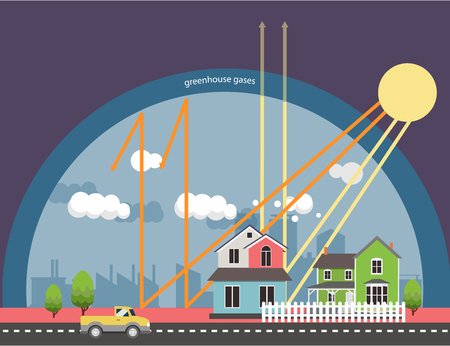 The greenhouse effect illustration info-graphic natural process that warms the Earth's surface.