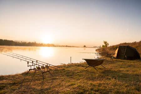 Photo pour Fishing adventures, carp fishing. - image libre de droit