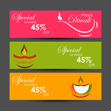 Illustration pour Vector illustration or greeting card of Diwali festival with stylish beautiful oil lamp and Diwali elements,Diwali SALE, Diwali Special offer background. - image libre de droit