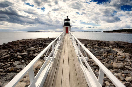 Marshall point lighthouse photographed in perspective