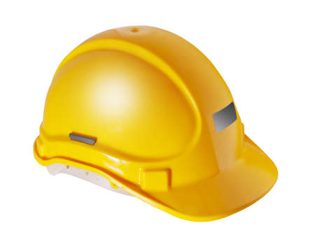 Photo pour Yellow hard hat used in the construction industry, isolated - image libre de droit