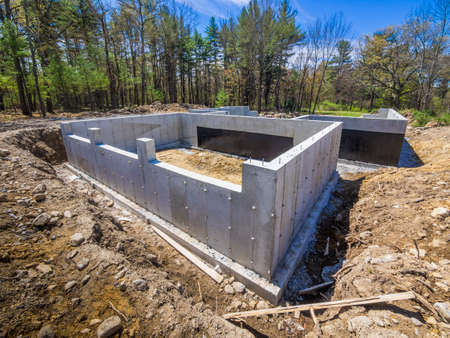 New house concrete foundation