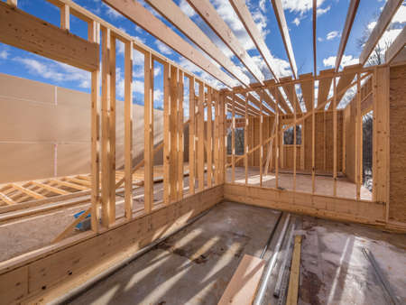 Photo for Interior framing of new housing project - Royalty Free Image