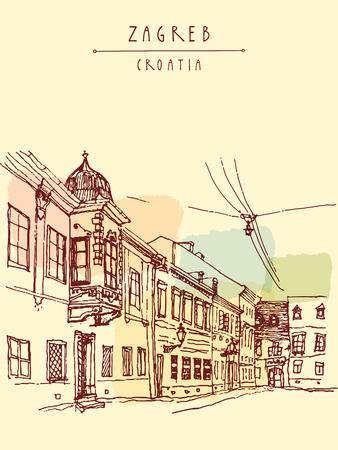 Old town street view. Zagreb, Croatia, Europe. Vintage hand drawn postcard