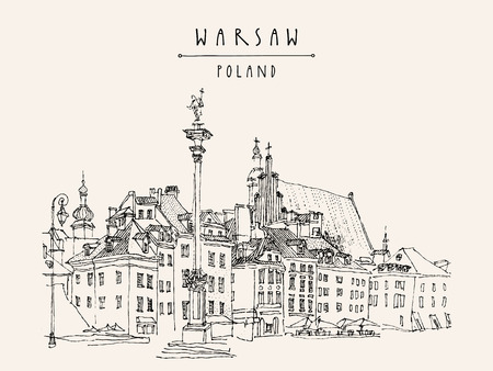 Castle Square in old center of Warsaw, Poland. Historic buildings. Travel sketch, hand lettering. Monochrome black and white vintage postcard template, vector illustration