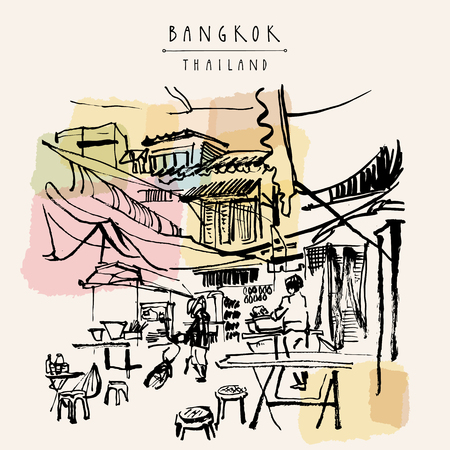 Illustration pour China town in Bangkok, Thailand. Food stalls, tables, stools. People buying Chinese food in a simple street cafe. Vintage hand drawn postcard - image libre de droit