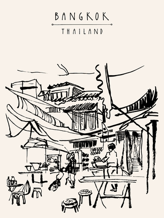 Illustration pour China town in Bangkok, Thailand. Food stalls, tables, stools. People buying Chinese food in a simple street cafe. Vertical vintage hand drawn postcard - image libre de droit