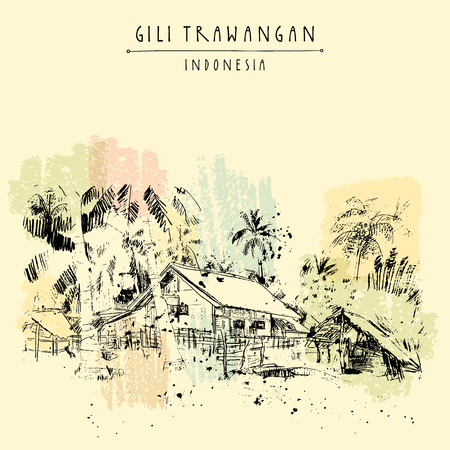 Tropical paradise in Gili Trawangan island, West Nusa Tenggara province, Indonesia, Asia. Travel sketch. Hand-drawn vintage book illustration, greeting card, postcard or poster template in vector