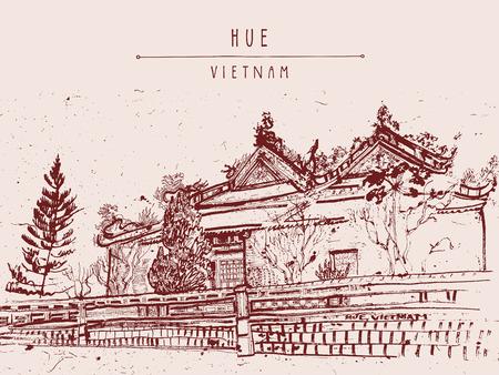 Hue, Vietnam. Citadel. Vintage drawing. Vietnamese travel poster, banner, postcard or calendar page illustration in vector