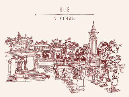 Hue, Vietnam, Indochina. Tomb of Khai Dinh emperor. Sculptures of warriors, trees, traditional architecture. Vintage touristic postcard poster banner, calendar page idea. Vector illustration